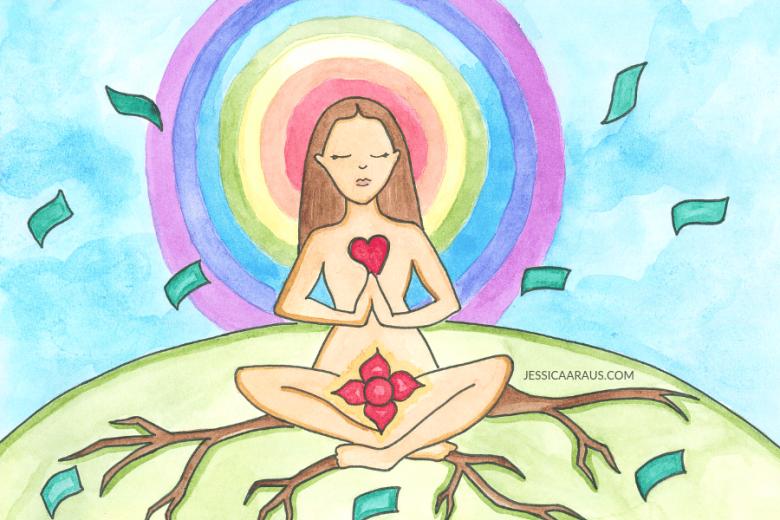 Manifest money watercolor illustration
