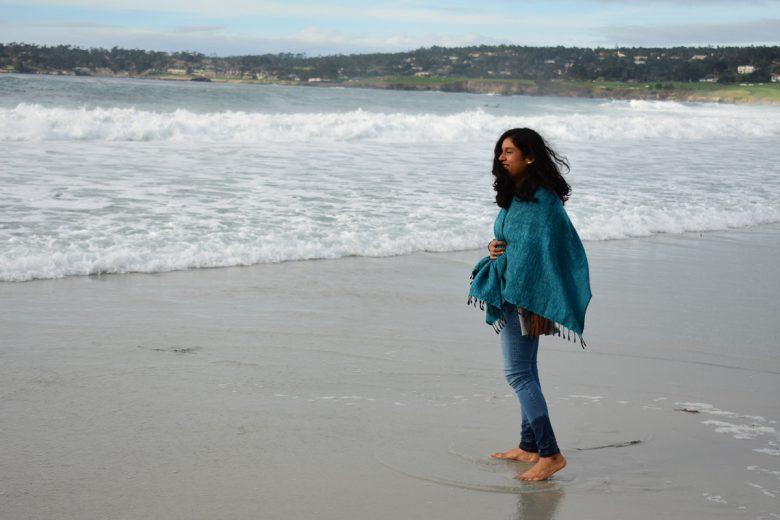 Walking barefoot at Carmel-by-the-Sea California