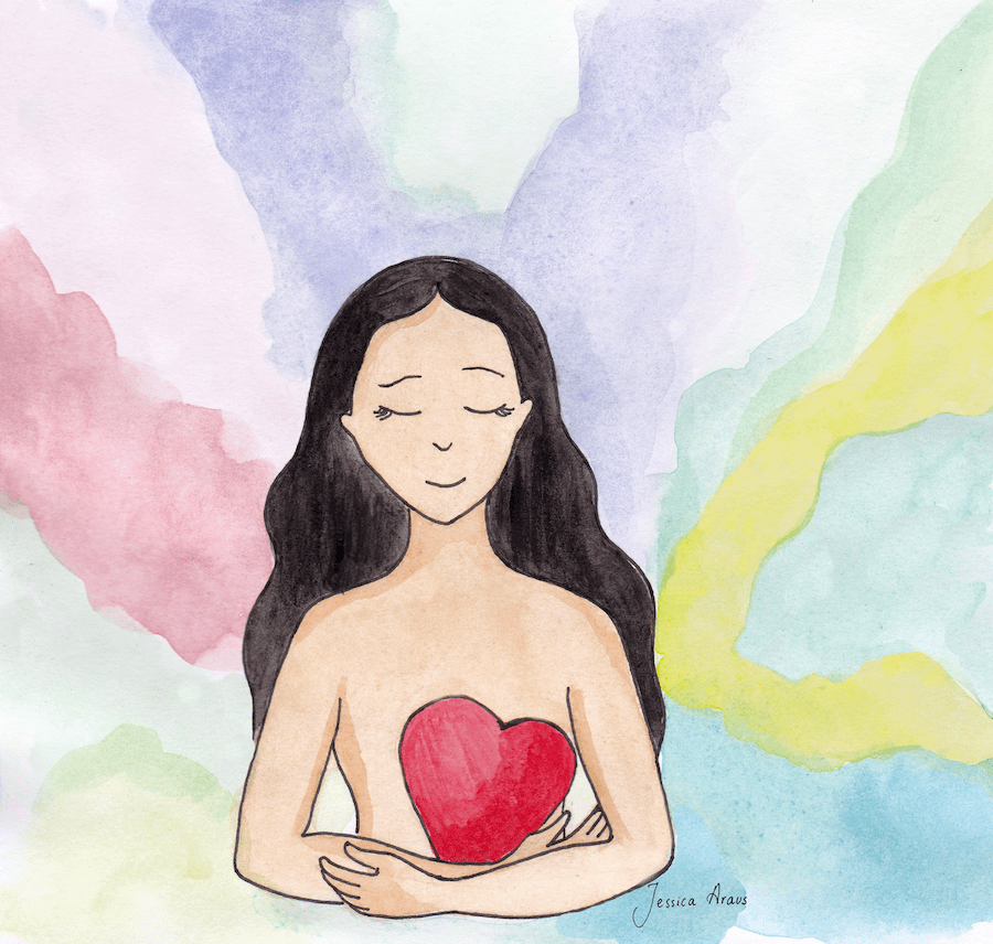 Self love watercolor illustration