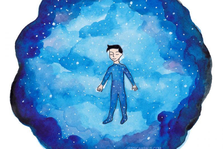 Man dreaming he is sleeping among stars