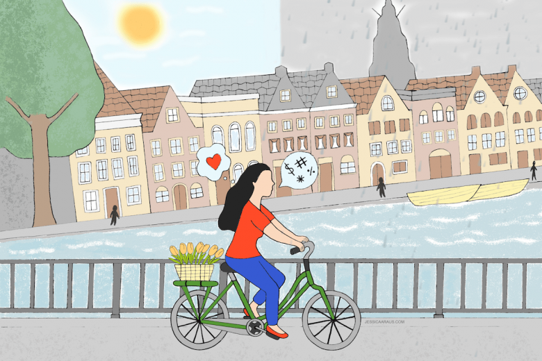 illustration of woman biking along Hoge der A bridge Groningen