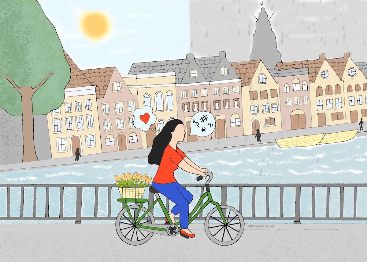 illustration of woman biking along Hoge der A bridge Groningen
