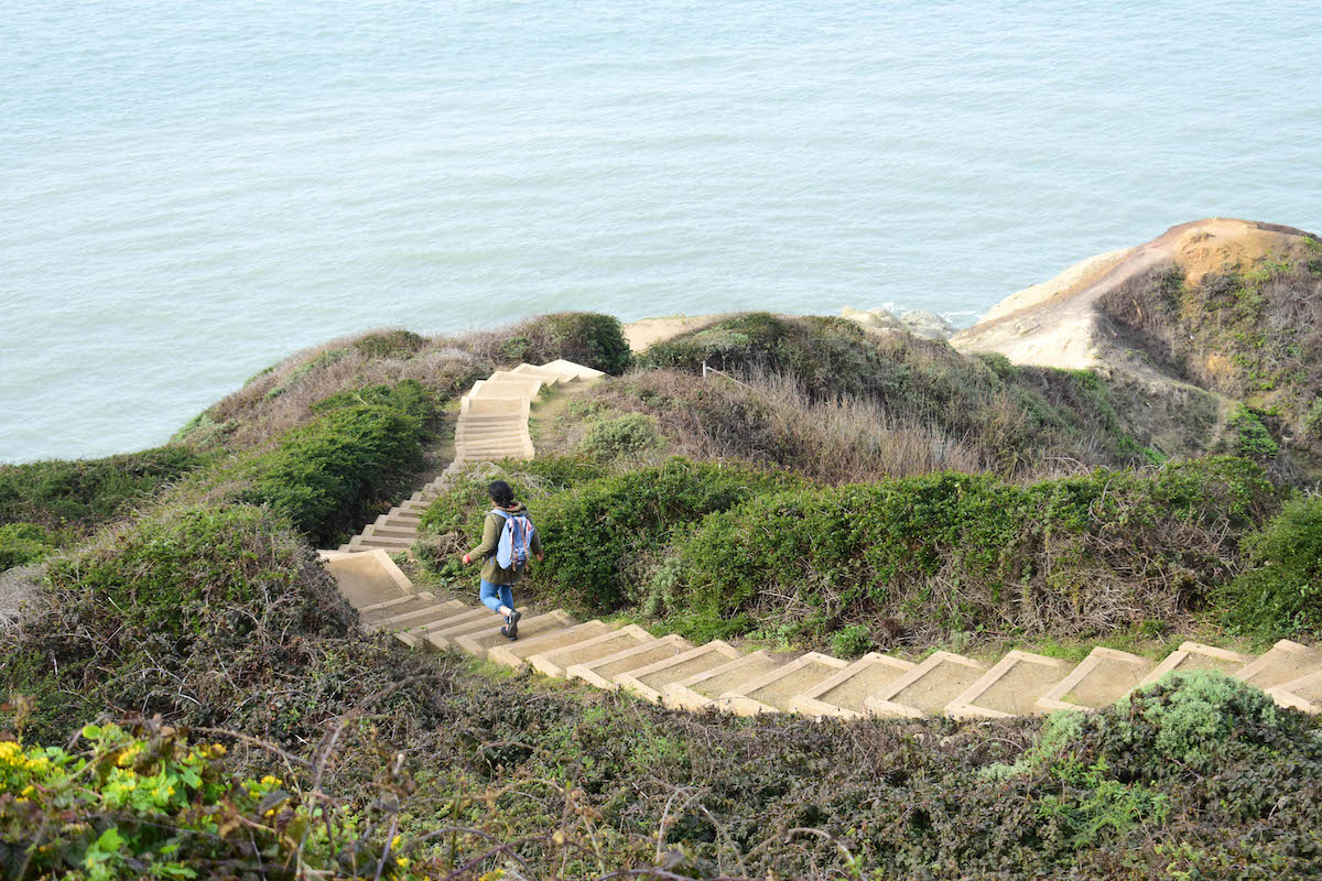 Going down a stairway at Marshall's Beach in San Francisco