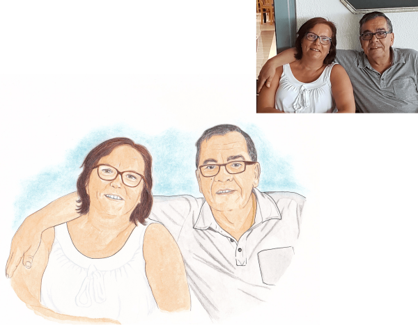 couple illustrated portrait