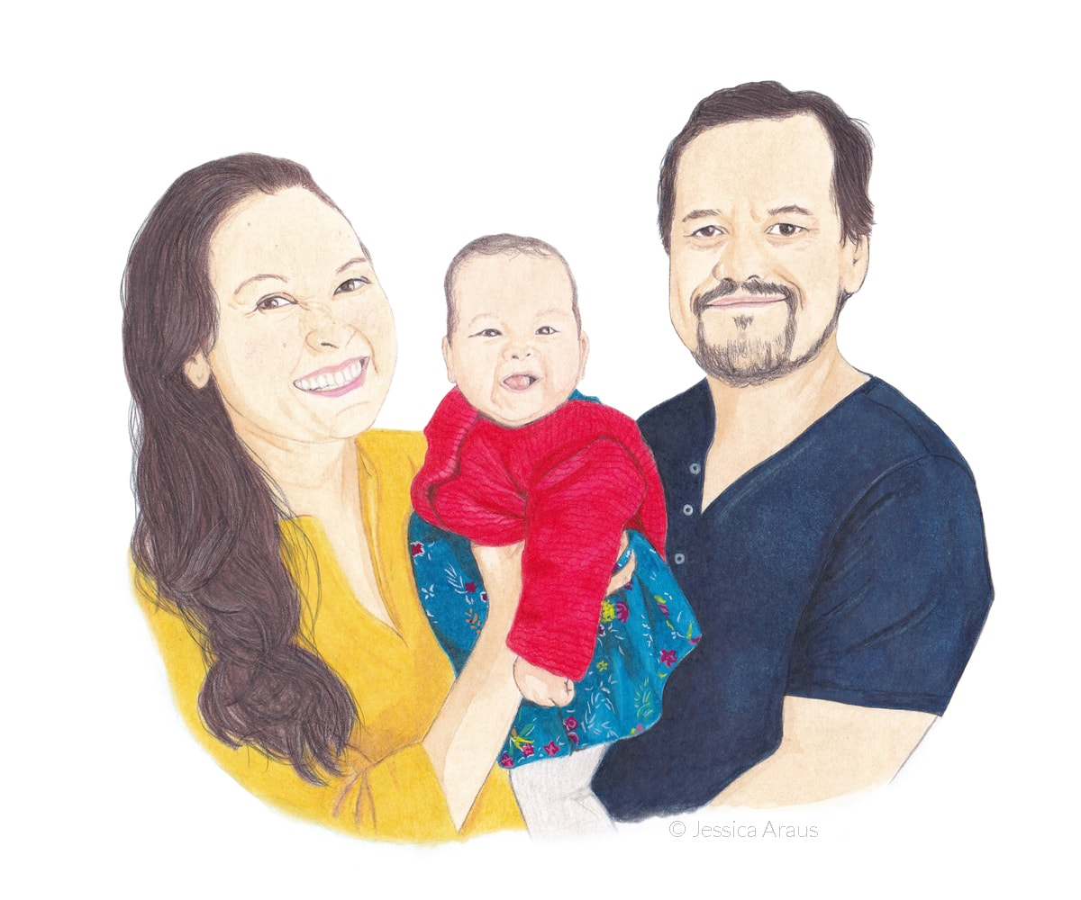 illustrated family portrait with traditional media