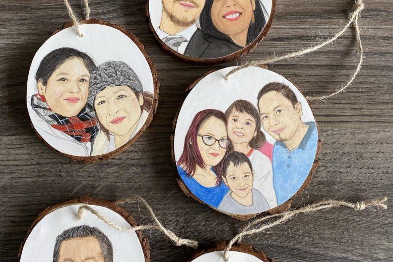 family portrait wood ornaments