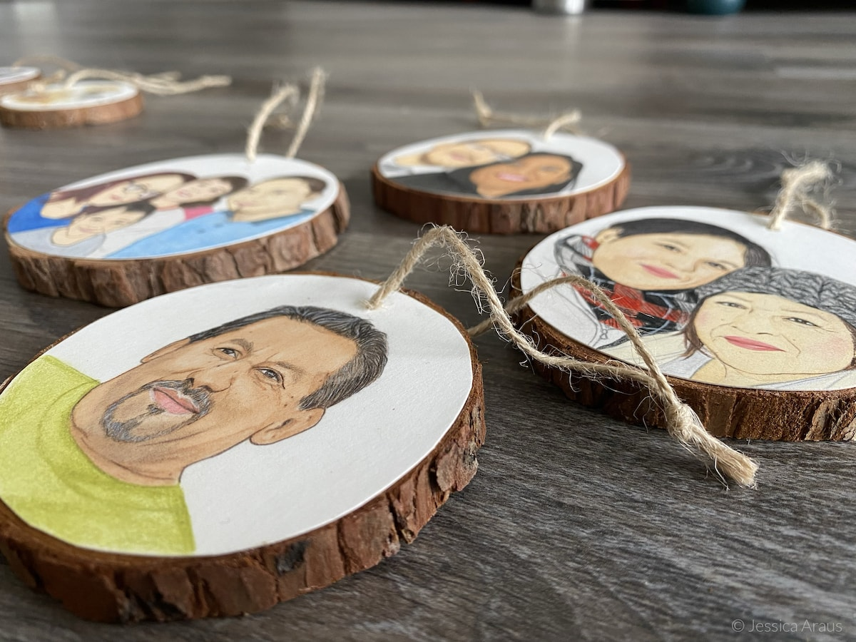 handpainted family wooden ornaments