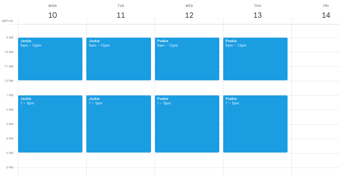 screenshot of Google calendar with scheduled art commissions