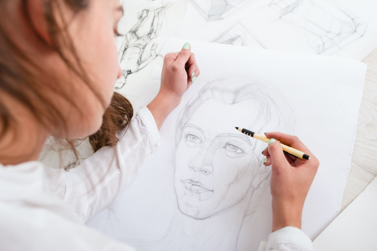 Artist sketching a portrait
